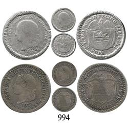 Lot of two ½ décimos, Popayán 1870 and Bogotá 1871.