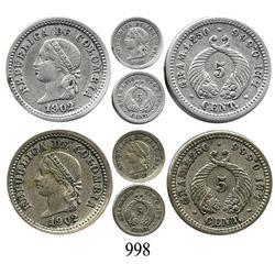 Lot of 2 Popayán, Colombia, 5 centavos, 1902.