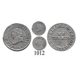 Quito, Ecuador, ¼ real, 1852-GJ.