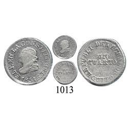 Quito, Ecuador, ¼ real, 1851-GJ.