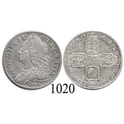 London, England, sixpence, George II, 1746, with LIMA below bust.