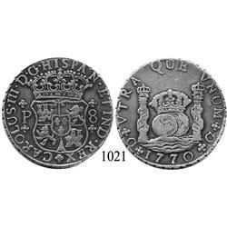 Guatemala City, Guatemala, pillar 8 reales, Charles III, 1770P.
