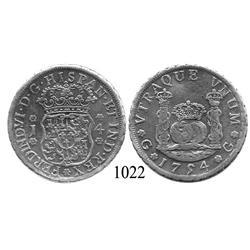 Guatemala City, Guatemala, pillar 4 reales, Ferdinand VI, 1754J (Spanish 5).