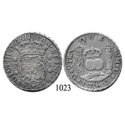 Guatemala City, Guatemala, pillar 4 reales, Charles III, 1760P, rare.