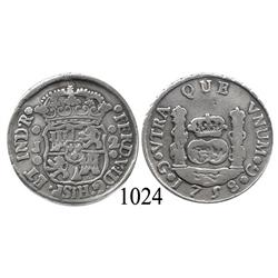 Guatemala City, Guatemala, pillar 2 reales, Ferdinand VI, 1758J.