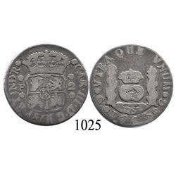 Guatemala City, Guatemala, pillar 2 reales, Charles III, 1765P, very rare.