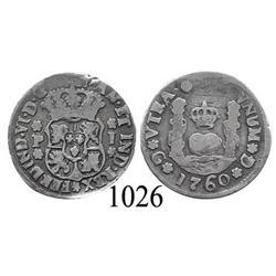Guatemala City, Guatemala, pillar 1 real, Ferdinand VI, 1760P.