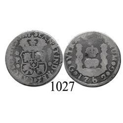 Guatemala City, Guatemala, pillar 1 real, Charles III, 1762P.
