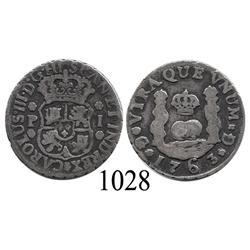Guatemala City, Guatemala, pillar 1 real, Charles III, 1763P.