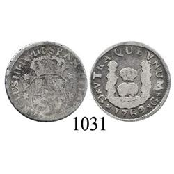 Guatemala City, Guatemala, pillar 1 real, Charles III, 1769P.
