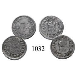 Lot of 2 Guatemala City, Guatemala, pillar ½ reales, Ferdinand VI, 1759P.