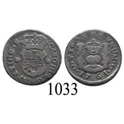 Guatemala City, Guatemala, pillar ½ real, Charles III, 1761 (no assayer).