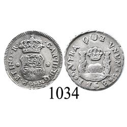 Guatemala City, Guatemala, pillar ½ real, Charles III, 1768 (no assayer).