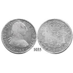 Guatemala City, Guatemala, bust 8 reales, Charles III, 1781P, rare.