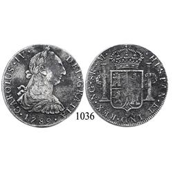 Guatemala City, Guatemala, bust 8 reales, Charles IV transitional (bust of Charles III, ordinal IV),