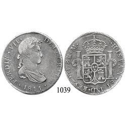 Guatemala City, Guatemala, bust 8 reales, Ferdinand VII, 1811M, scarce.