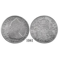 Guatemala City, Guatemala, bust 4 reales, Charles III, 1772P, scarce.