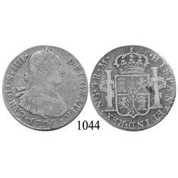 Guatemala City, Guatemala, bust 4 reales, Charles IV, 1792M.