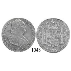 Guatemala City, Guatemala, bust 4 reales, Charles IV, 1801M.