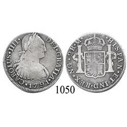 Guatemala City, Guatemala, bust 2 reales, Charles IV, 1791M.
