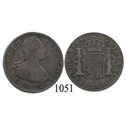 Guatemala City, Guatemala, bust 2 reales, Charles IV, 1792M.