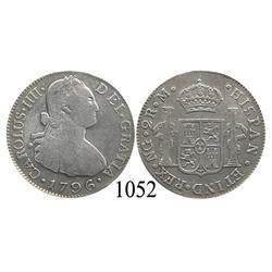 Guatemala City, Guatemala, bust 2 reales, Charles IV, 1796M.