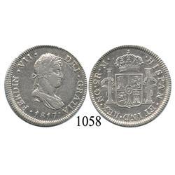 Guatemala City, Guatemala, bust 2 reales, Ferdinand VII, 1817M.