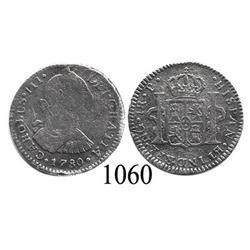Guatemala City, Guatemala, bust 1 real, Charles III, 1780P.