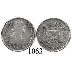 Guatemala City, Guatemala, bust 1 real, Charles IV, 1804M.