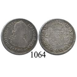 Guatemala City, Guatemala, bust 1 real, Ferdinand VII transitional (bust of Charles IV), 1808M.