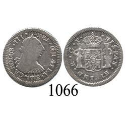 Guatemala City, Guatemala, bust ½ real, Charles III, 1772P.