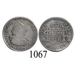 Guatemala City, Guatemala, bust ½ real, Charles III, 1773P.
