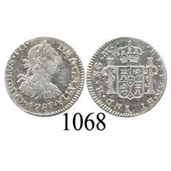 Guatemala City, Guatemala, bust ½ real, Charles III, 1787M.