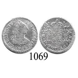 Guatemala City, Guatemala, bust ½ real, Charles IV transitional (bust of Charles III, ordinal IV), 1