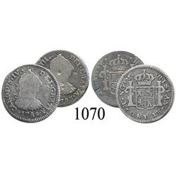 Lot of 2 Guatemala City, Guatemala, bust ½ reales, Charles III and Charles IV transitional, 1783P an