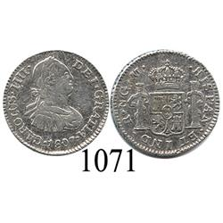 Guatemala City, Guatemala, bust ½ real, Charles IV, 1807M.
