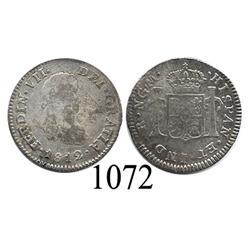Guatemala City, Guatemala, bust ½ real, Ferdinand VII, 1812M, scarce.