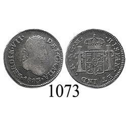 Guatemala City, Guatemala, bust ½ real, Ferdinand VII, 1813M, scarce.