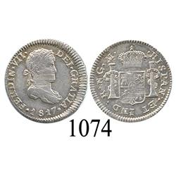 Guatemala City, Guatemala, bust ½ real, Ferdinand VII, 1817M, lustrous AU with adjustment marks.