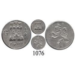 Guatemala City, Guatemala, ¼ real, Charles IV, 1796.