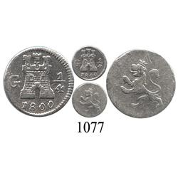 Guatemala City, Guatemala, ¼ real, Charles IV, 1800.