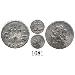 Guatemala City, Guatemala, ¼ real, Charles IV, 1803.