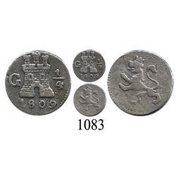 Guatemala City, Guatemala, ¼ real, Ferdinand VII, 1809.