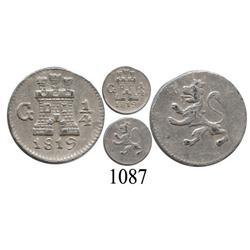 Guatemala City, Guatemala, ¼ real, Ferdinand VII, 1819.