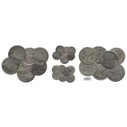 Lot of 7 Guatemala, Central American Republic, ¼ reales, 1826, 1831 (2), 1837, 1840/30, 1842/29 and