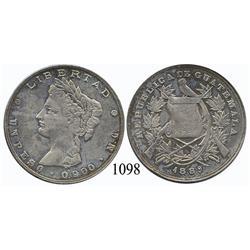 Guatemala City, Guatemala, peso, 1889MG, scarce.