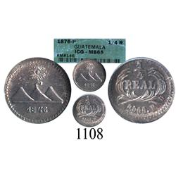 Guatemala, ¼ real, 1876P, encapsulated ICG MS-65.