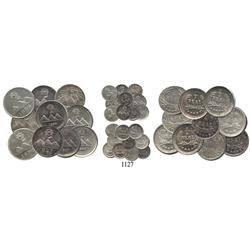 Ten-coin mini-collection of UNC Guatemala City, Guatemala ¼ reales, all different (1889 normal and d
