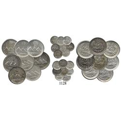 Eight-coin mini-collection of UNC Guatemala City, Guatemala ¼ reales, 1889 (6), 1890 and 1891.