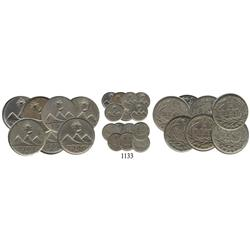 Seven-coin mini-collection of copper-nickel Guatemala City, Guatemala ¼ reales, 1900H (3) and 1901H